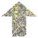 Grunge encima de la flecha del dólar Fotografía de archivo libre de regalías