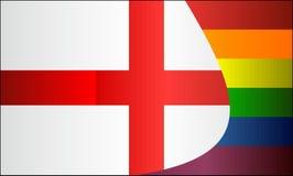 Grunge Engeland en Vrolijke vlaggen Stock Foto's