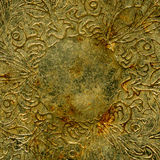 Grunge engraved antique chrome. Stained and rusted metal plate design royalty free stock photography