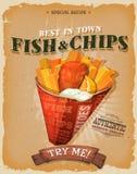 Grunge et poissons et Chips Poster de vintage Images libres de droits