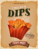 Grunge et poissons et Chips Poster de vintage Photographie stock libre de droits
