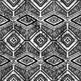Grunge ethnic background. Seamless black and white pattern vector Royalty Free Stock Photo