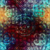 Grunge ethnic pattern with signs of zodiacs. Stock Photography