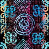 Grunge etniczny wzór. ilustracja wektor