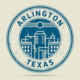 Grunge etykietka z tekstem Arlington lub pieczątka, Teksas royalty ilustracja