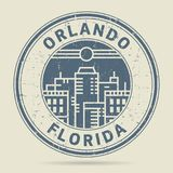 Grunge etykietka z tekstem Orlando lub pieczątka, Floryda ilustracja wektor