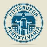 Grunge etykietka z tekstem Pittsburgh lub pieczątka, Pennsylwania ilustracji