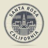 Grunge etykietka z tekstem Santa Rosa lub pieczątka, Kalifornia ilustracja wektor