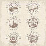 Grunge etykietki ustaleni punkty zwrotni San Fransisco Kalifornia, usa Obraz Stock