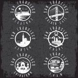 Grunge etykietki ustaleni punkty zwrotni San Fransisco Kalifornia, usa Zdjęcie Royalty Free
