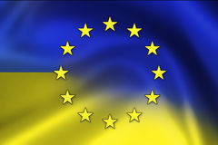 Grunge EU and Ukraine Flag Royalty Free Stock Photos