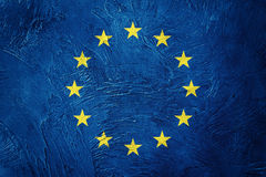 Grunge Europe Union flag. EU flag with grunge texture. Grunge Europe Union flag. EU flag with grunge Grunge flag.texture Royalty Free Stock Photography