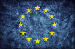 Grunge Europese Unie vlag, document textuur De EU Stock Foto's