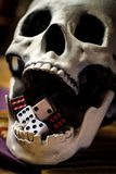 Dice Skull Gambling Concept. Grunge evil skull with gambling dice concept royalty free stock photography