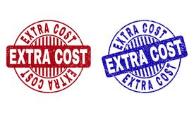 Grunge EXTRA COST Scratched Round Watermarks. Grunge EXTRA COST round stamp seals isolated on a white background. Round seals with grunge texture in red and blue vector illustration