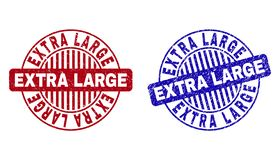 Grunge EXTRA LARGE Scratched Round Watermarks. Grunge EXTRA LARGE round stamp seals isolated on a white background. Round seals with grunge texture in red and stock illustration