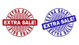Grunge EXTRA SALE! Textured Round Stamp Seals. Grunge EXTRA SALE! round stamp seals isolated on a white background. Round seals with grunge texture in red and vector illustration