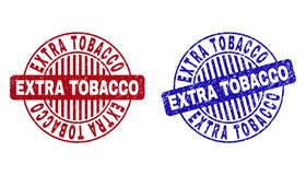 Grunge EXTRA TOBACCO Textured Round Stamps. Grunge EXTRA TOBACCO round stamp seals isolated on a white background. Round seals with grunge texture in red and royalty free illustration