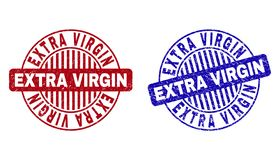 Grunge EXTRA VIRGIN Scratched Round Stamps. Grunge EXTRA VIRGIN round stamp seals isolated on a white background. Round seals with grunge texture in red and blue stock illustration