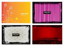 grunge för baner för 4 bakgrund blom- Royaltyfria Foton