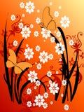 grunge för fjäril för 29 konst blom- Arkivbilder