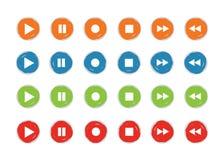 Grunge 4 för uppsättningen för lek- och rekordknappsymbolen färgar vektorn Royaltyfri Foto