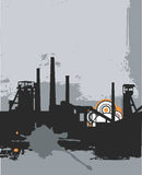 Grunge_factory_silhouette. Grunge silhouette, industry background. Vector illustration Stock Image