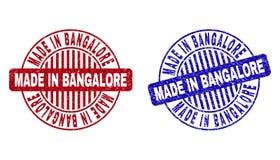 Grunge FAIT à BANGALORE a rayé les timbres ronds illustration stock