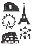 Grunge_famous_european_building. Silhouettes of Famous European buildings,  illustration Stock Images
