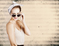 Grunge fashion beauty on stripe copy space Stock Images