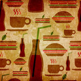 Grunge fast food icons set pattern Stock Photo