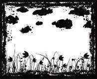 Grunge Feld mit Blumen und Wolken, Vektor Stockbild
