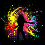 Grunge female. Silhouette of a female on a brightly coloured grunge background Stock Photos
