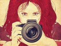 Grunge female photographer Royalty Free Stock Photo
