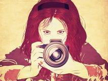 Grunge female photographer Stock Photos