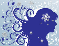 Grunge Female Sparkling Snowflakes Stars Royalty Free Stock Photos