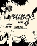 Grunge festival flyer design. Calligraphy flat brush. Grunge texture royalty free illustration