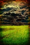 Grunge field. Grunge image of green field and blue sky Stock Image