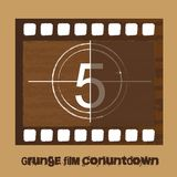 Grunge film countdown. Over brown background. vector Royalty Free Stock Image