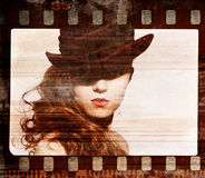 Grunge film frame. Retro shot. Fashion art photo Royalty Free Stock Photography