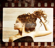 Grunge film frame. Retro shot. Fashion art photo Stock Image