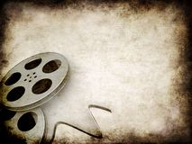 Grunge film reels. 3d rendered illustration of an old paper with two film reels Royalty Free Stock Photography