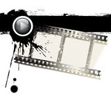 Grunge film strip. Vector grunge film strip and black paint on white background Royalty Free Stock Photo