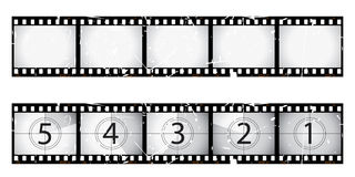 Grunge film strip and countdown Stock Images