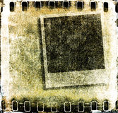 Grunge film strip frame. Grunge sepia  film strip frame with instant photo Stock Photos