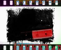 Grunge film strip frame with dripping. Retro design element. Grunge film strip frame with dripping Stock Images