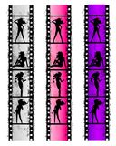 Grunge Film Strip Sexy Women Stock Photography
