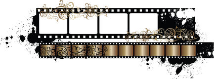 Grunge Film Strip Vector Illustration. A grungy strip of old film arranged on a grungy and messy background with paint splotches and arabesques Stock Images