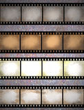 Grunge film strips. Vintage scratched seamless film strips or frame collection Royalty Free Stock Photography