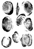 Grunge fingerprint. Forget those nice, neat pictures of fingerprints. Grunge is the new neat-o! Missing lines, smudge, blotches... Makes you feel like a burgler Stock Photos